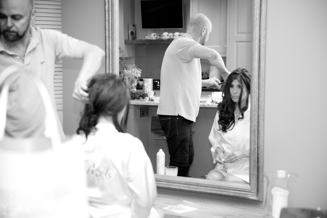 Documentary style photos of the bride getting ready in Cheshire