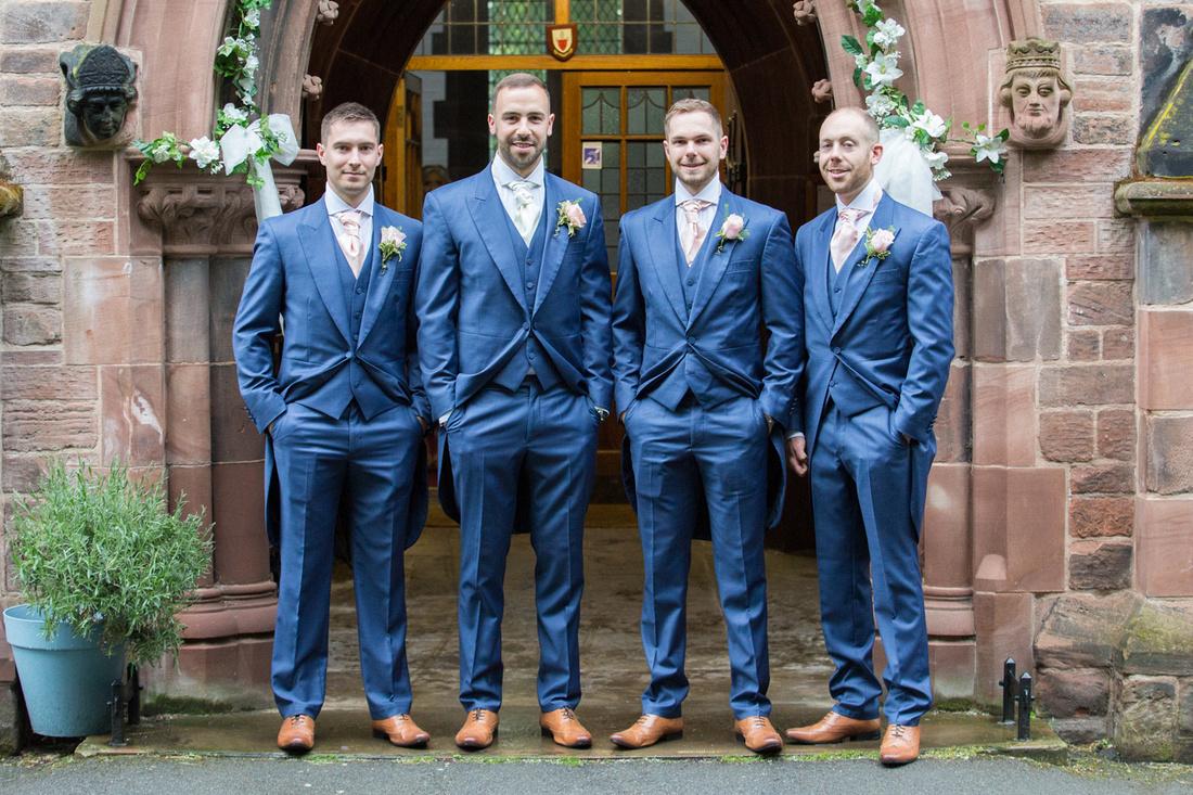 Photo of the boys at Stockton Heath Church before the Wedding