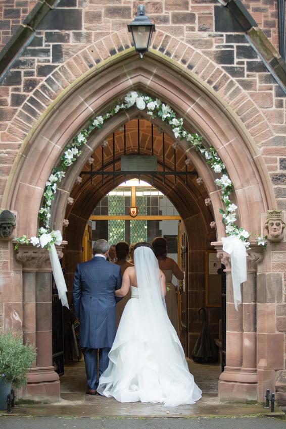 Photo of the bride going into Stockton Heath Chrich