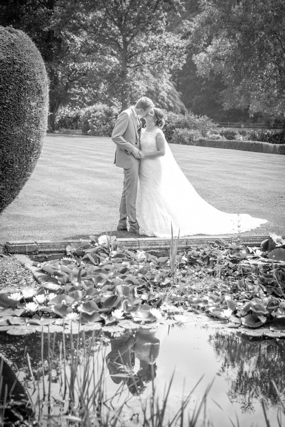 Mottram Hall Wedding Photos by the pond