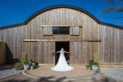 Wedding dress at a Cheshire barn
