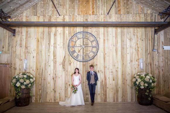 Interior shot of rustic wedding barn