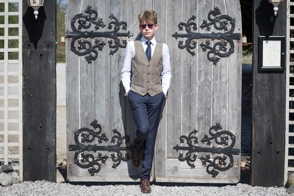 Tweed waistcoat wedding shoot