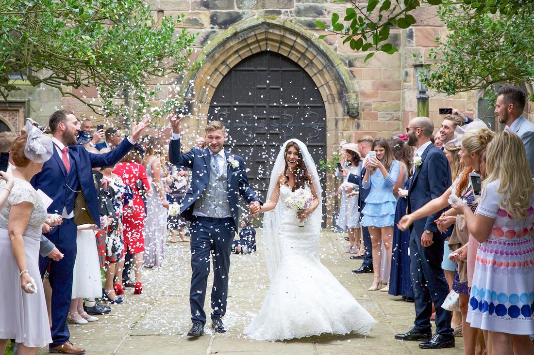 Confetti photo at Prestbury church
